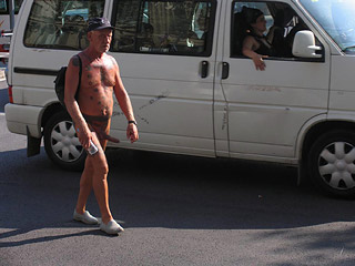 Nudist in City